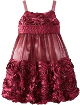 Little Girls 2T-6X Burgundy-Red Bonaz Rosette Mesh Bubble Dress, Bonnie Jean