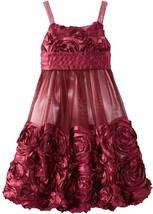 Big Girls Tween 7-16 Burgundy-Red Bonaz Rosette Mesh Bubble Dress, Bonnie Jean