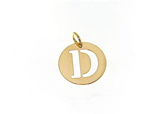 18K YELLOW GOLD LUSTER ROUND MEDAL WITH A LETTER D MADE IN ITALY DIAMETER 0.5 IN