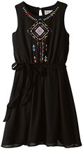 Big Girl Tween 7-16 Tribal Embroidered Chiffon Dress, Blush by Us Angels