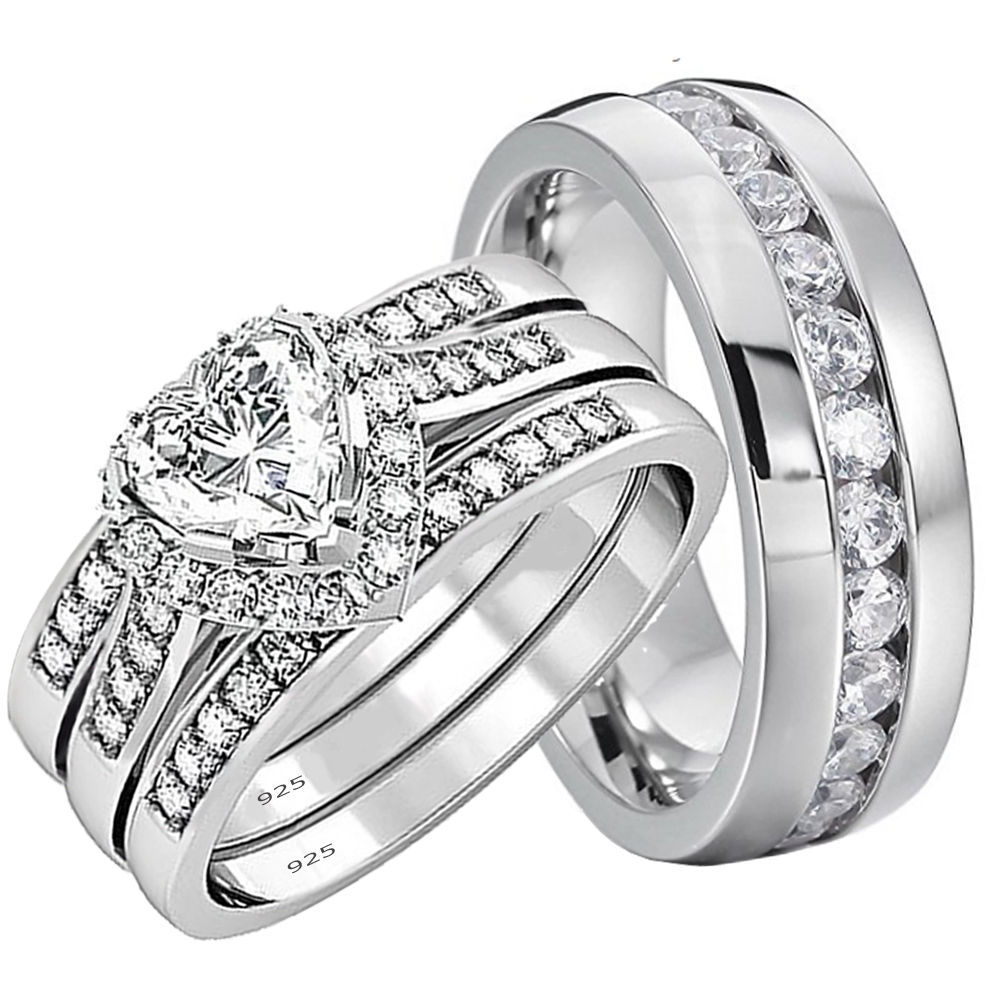 stainless steel wedding ring sets his and hers wedding rings 4 pcs engagement sterling 7661