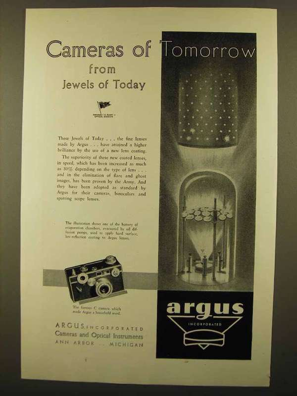 1945 Argus Cameras Ad - Jewels of Today