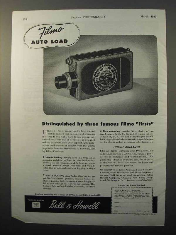 1945 Bell & Howell Filmo Auto Load Movie Camera Ad - Firsts
