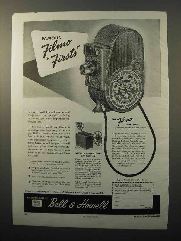 1945 Bell & Howell Filmo Sportster Movie Camera Ad