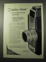 1954 Kodak Royal Magazine Movie Camera Ad - Talent - $14.99
