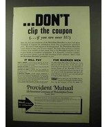 1933 Provident Mutual Life Insurance Ad - Coupon - $14.99