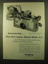 1958 Argus Match-Matic C-3 Camera Ad - Announcing - $14.99