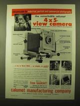 1957 Calumet 4x5 View Camera Ad - Industrial, Portrait - $14.99