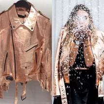 ZARA Rose Gold Metallic Leather Biker Jacket With Zip Studded Extra Smal... - $101.26