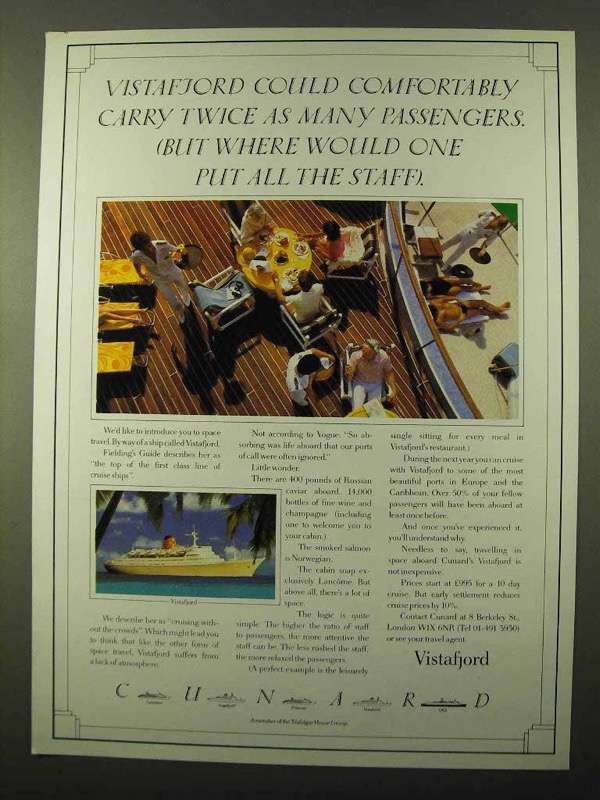 1984 Cunard Vistafjord Cruise Ad - and 50 similar items