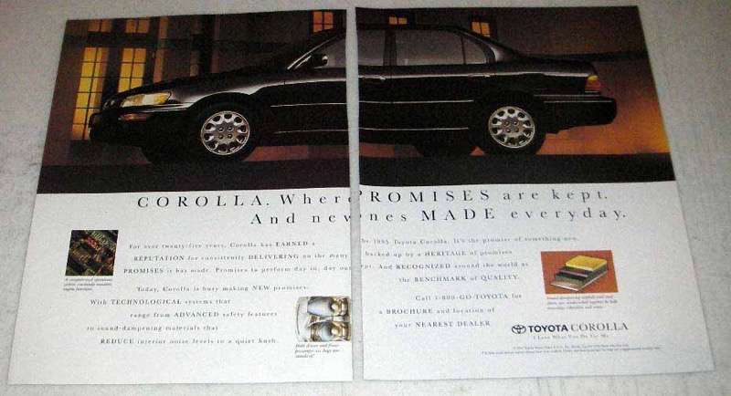 Primary image for 1995 Toyota Corolla Ad - Promises Are Kept