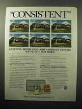 1985 American Express and La Quinta Motor Inns Ad - $14.99