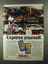 1985 GMC Safari Van Ad - Express Yourself - $14.99