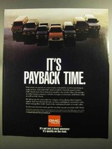 1991 GMC Trucks Ad - It's Payback Time - $14.99