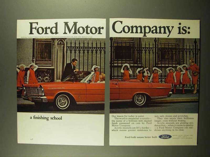 1965 2-page Ford Motor Company Ad - A Finishing School - $14.99