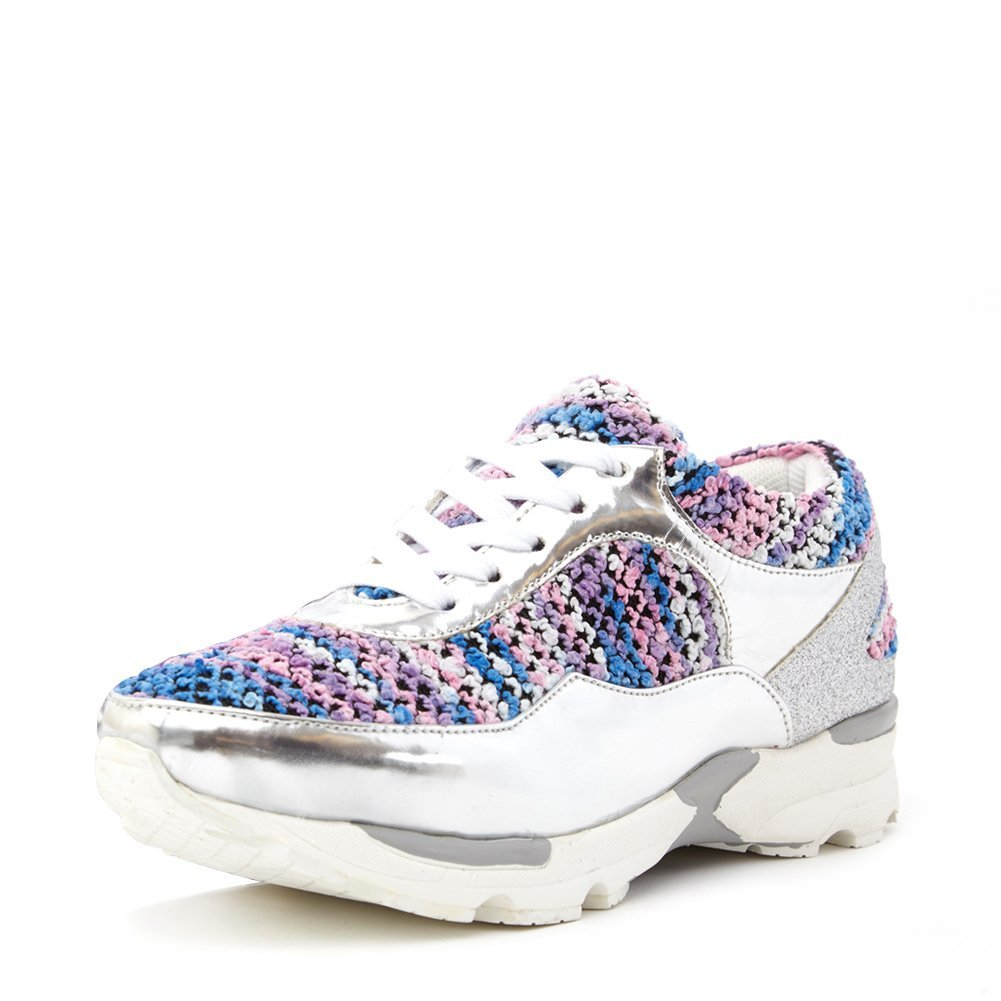 Jeffrey Campbell Women's Run Walk Sneaker RUN-WALK Silver/Pastel, 8 (B)
