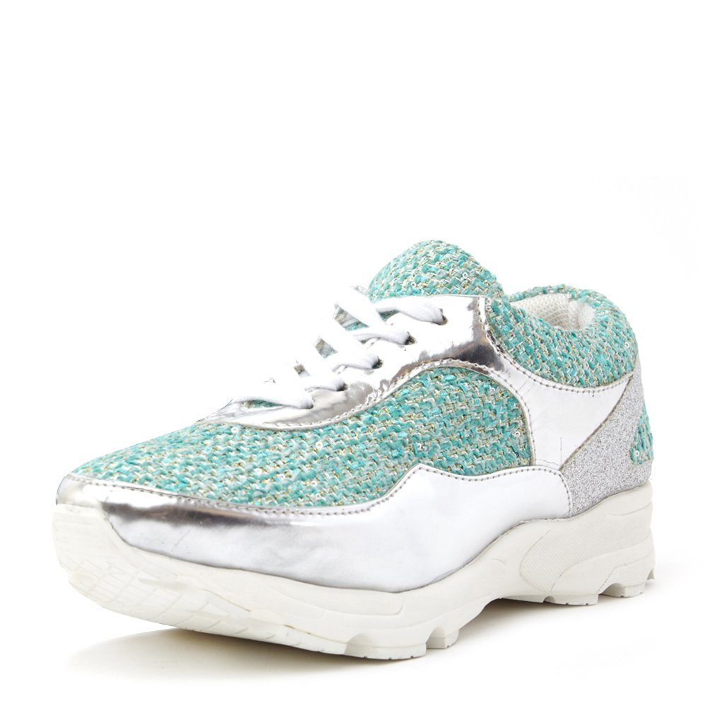 Jeffrey Campbell Women's Run Walk Sneaker RUN-WALK Silver/Turquoise, 9 (B)