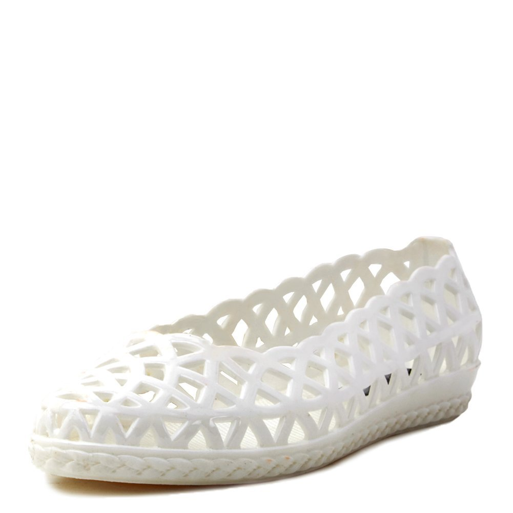 Jeffrey Campbell Women's Jelly Jam Flat Shoes JELLY-JAM White, 9 (B)