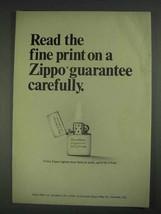 1967 Zippo Lighter Ad - Read the Fine Print - $14.99