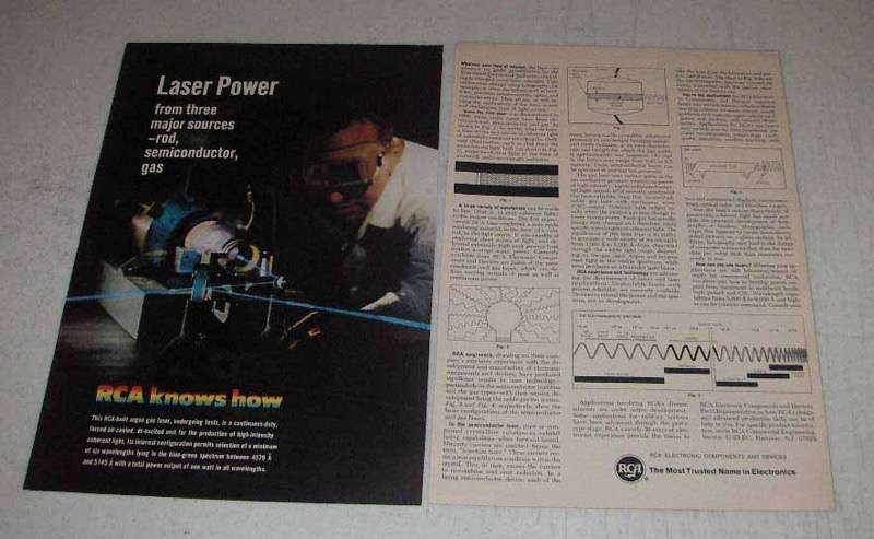 1967 RCA Argon Gas Laser Ad - Laser Power