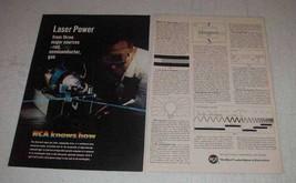1967 RCA Argon Gas Laser Ad - Laser Power - $14.99