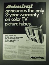 1968 Admiral TV Ad - Color TV Picture Tubes - $14.99