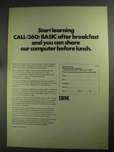 1968 Ibm CALL/360: Basic Ad - Start Learning - $14.99