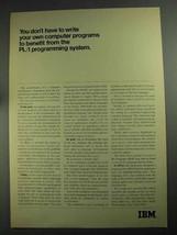 1968 IBM PL/I Programming System Ad - Benefit From - $14.99