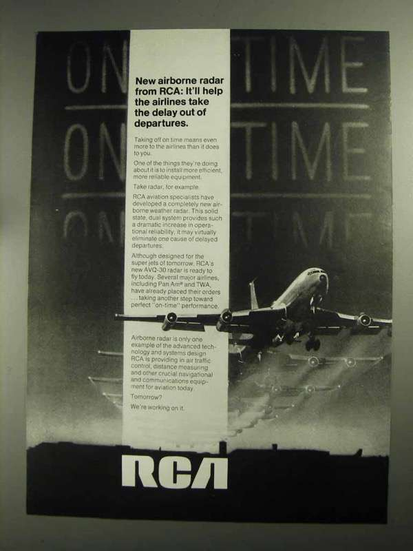 1968 RCA AVQ-30 Radar Ad - Delay Out of Departures