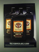 1996 Harley-Davidson Motorcycle Oil Ad - Buy 9 Quarts - $14.99