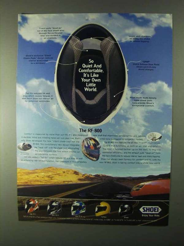 Primary image for 1999 Shoel RF-800 Helmet Ad - Quiet and Comfortable