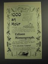 1893 Edison Mimeograph Ad - 1000 an Hour - $14.99