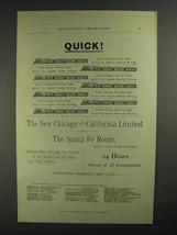 1893 Santa Fe Railroad Ad - Quick! - $14.99