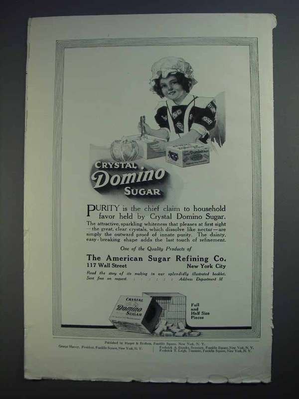 1913 Crystal Domino Sugar Ad - Purity is Chief Claim