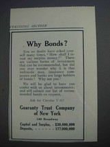 1913 Guaranty Trust Company of New York Ad - Why Bonds? - $14.99