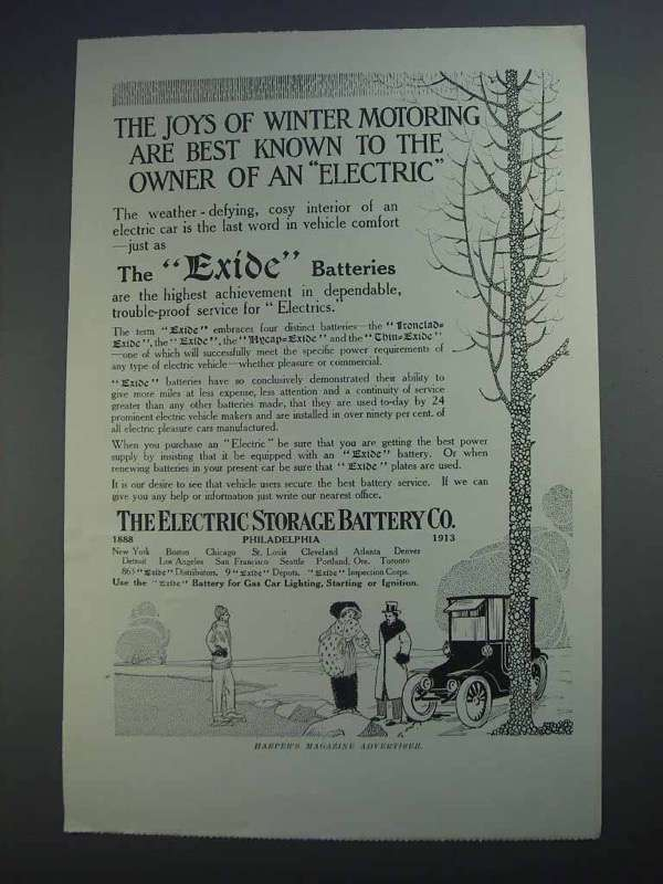 1913 Electric Storage Battery Exide Batteries Ad