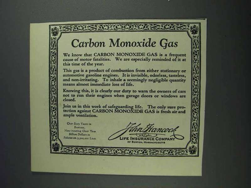 1925 John Hancock Life Insurance Ad - Carbon Monoxide ...