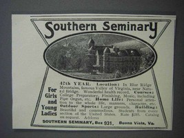 1913 Southern Seminary Ad - For Girls and Young Ladies - $14.99