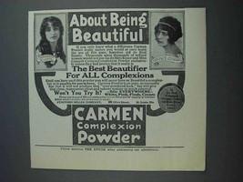 1915 Carmen Powder Ad - Marguerite Risser, Grace Cunard - $14.99