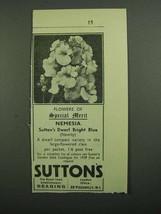 1939 Sutton's Nemesia Seeds Ad - Special Merit - $14.99