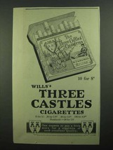 1939 Wills's Three Castles Cigarettes Ad - $14.99
