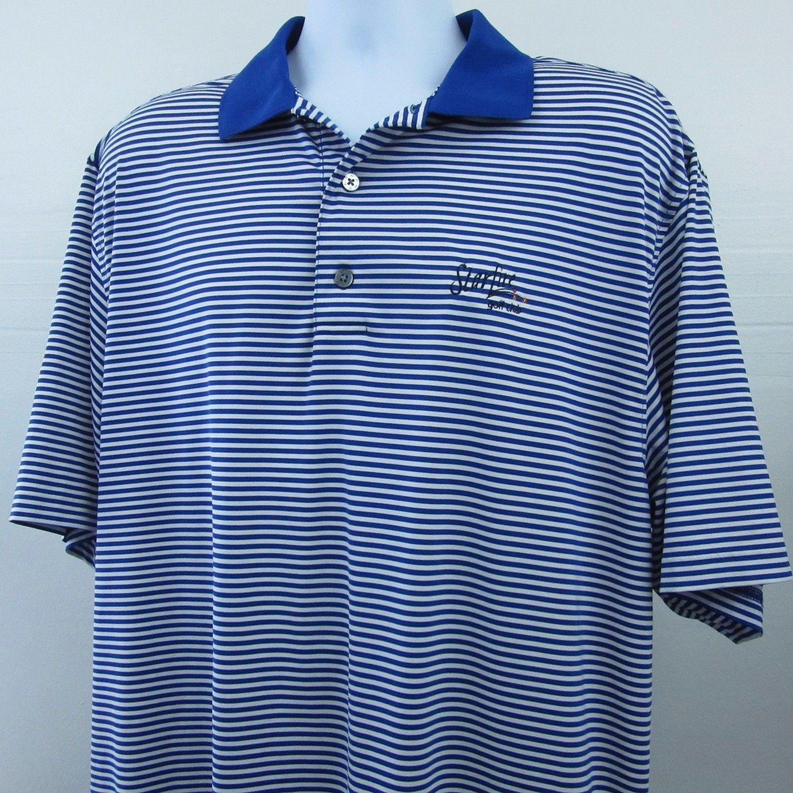Footjoy starfire club logo fj mens large blue white for Footjoy shirts with titleist logo