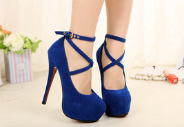 pp229 Elegant high-heeled strappy pumps, US Size 3-10, blue - $52.80