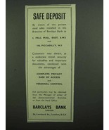 1939 Barclays Bank Ad - Safe Deposit - $14.99