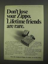 1968 Zippo Cigarette Lighters Ad - Lifetime Friends - $14.99
