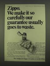 1968 Zippo Cigarette Lighters Ad - Guarantee to Waste - $14.99