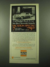 1969 Budget Rent a Car Ad - Call For Chevrolet Impala - $14.99