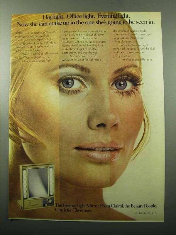 1969 Clairol True-to-Light Mirror Ad - Light - $14.99