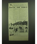 1939 Royal Air Force Ad - Short-Service Commission - $14.99