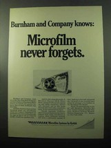 1969 Kodak Recordak Microfilm Systems Ad - Burham - $14.99